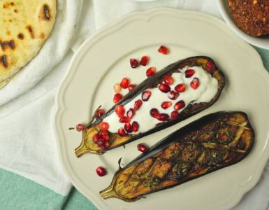 eggplant from the oven with pomegranate and buttermilk dip