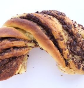 Babka, half a circular babka swirled with chocolate