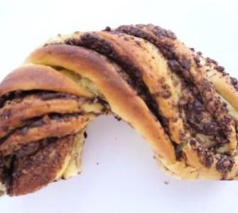 Babka, half a circular babka swirled with chocolate