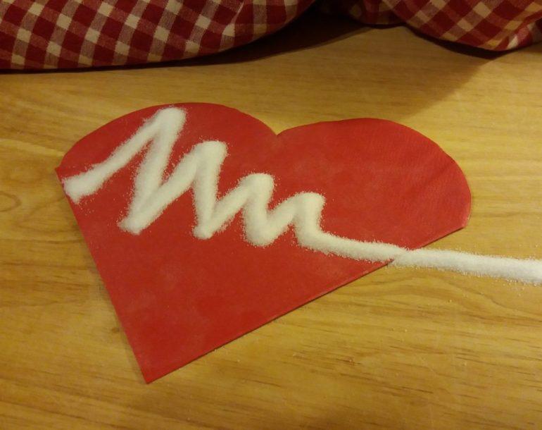 heart with white powder imitating heart beat