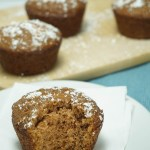 apple cider muffins with a bit out
