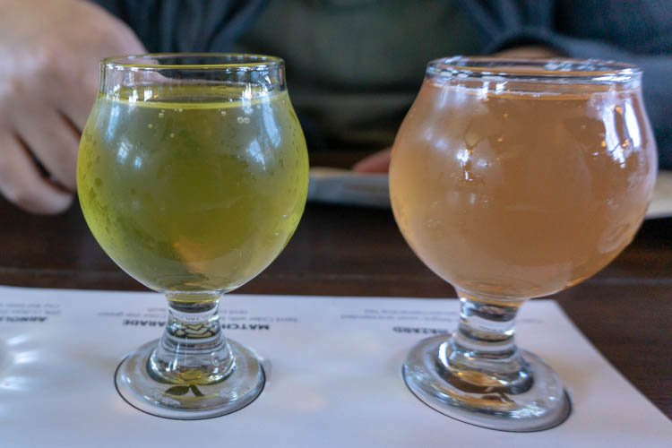 two apple ciders with green tea and plum