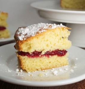Victoria sandwich with cranberry jam and icing sugar