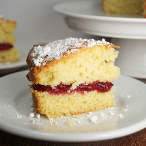 Victoria sandwich - with cranberry jam