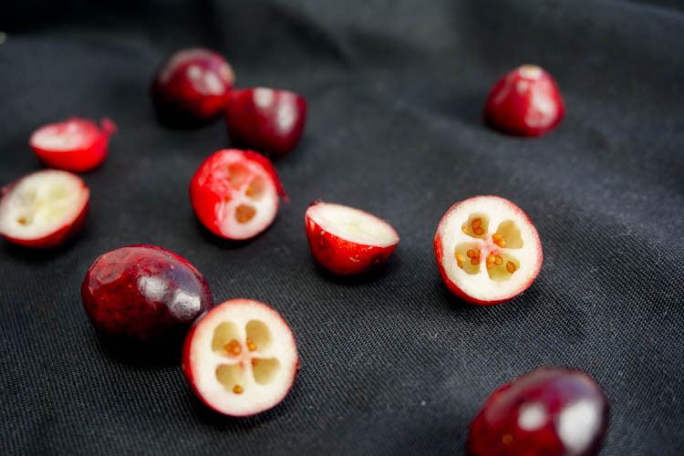 fresh and sliced cranberries