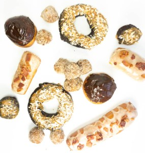 4 types of donuts, Bavarian, maple bacon long John, chocolate cake, pumpkin cake