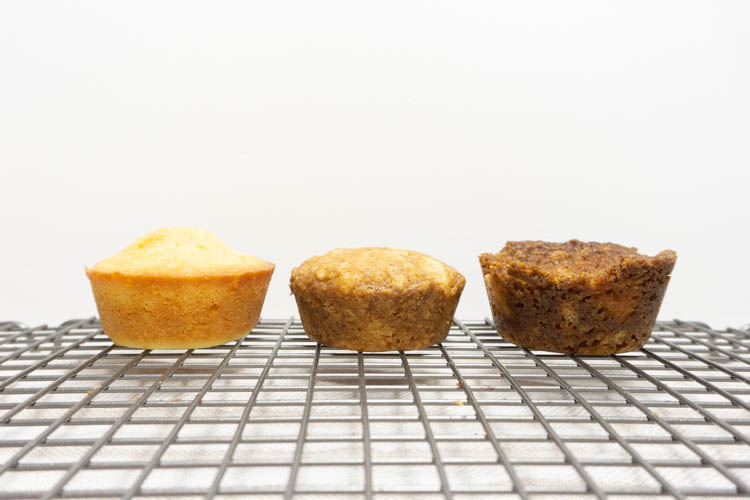 pound cake muffin test side view