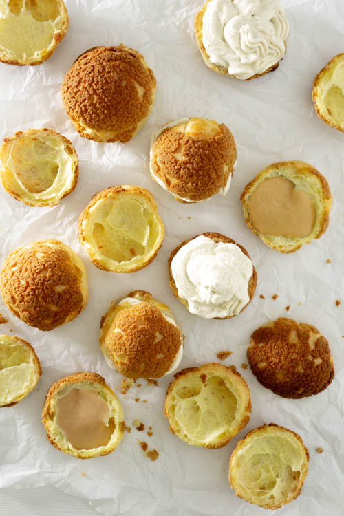 choux pastry with light brown craquelin on top