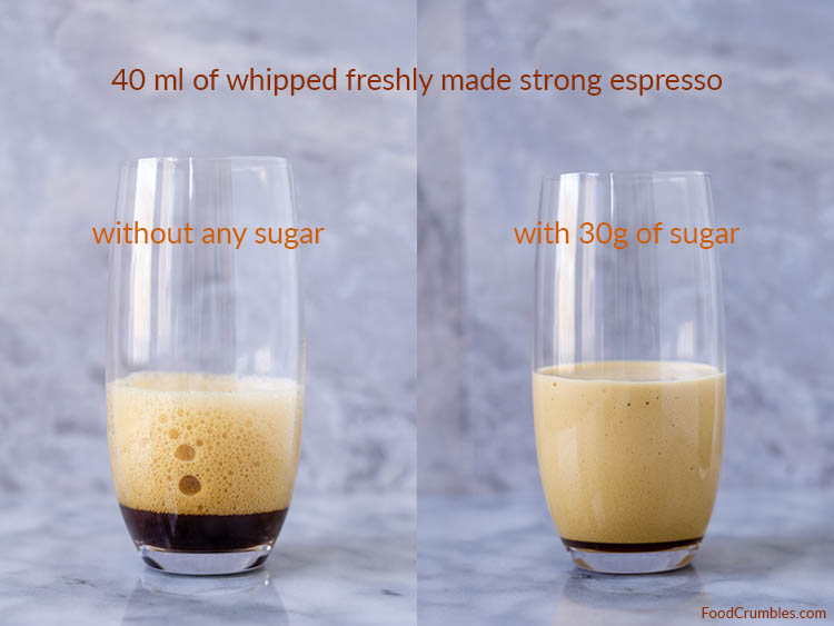whipped espresso with and without sugar