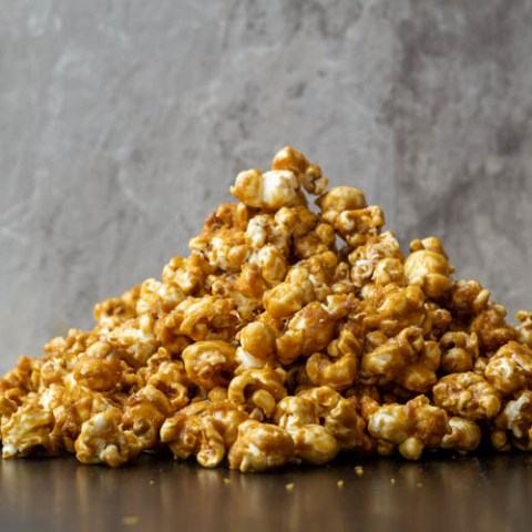 stack of caramel popcorn