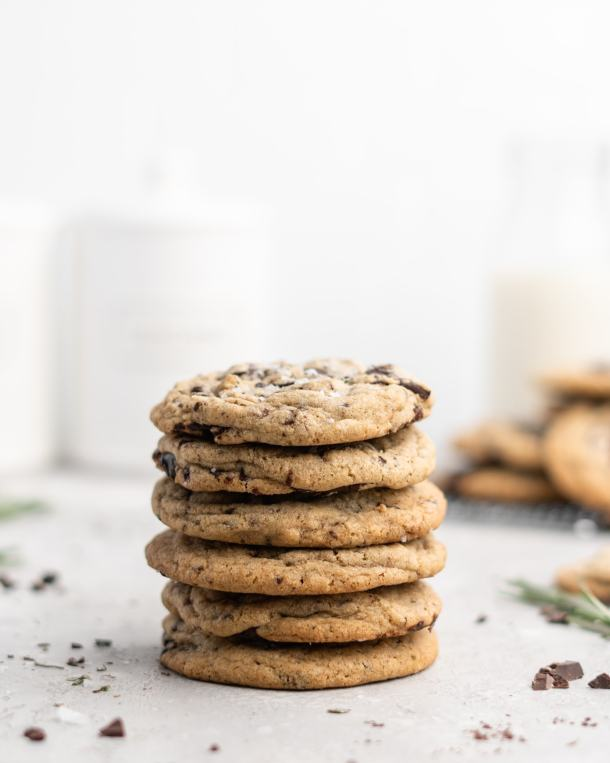 These Rosemary Chocolate Chunk Cookies are perfectly chewy and sweet, with a hint of evergreen flavor from the rosemary