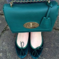Mulberry Emerald Lily / French Sole Velvet Green Ostrich Flats