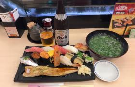 すしざんまい秋葉原昭和通り店特選寿司セットビールチェーン店で一番大きいメニューを注文してみたデカ盛り進撃の歴史33