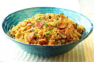 Curried Couscous with Fried Garlic