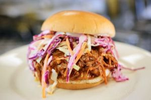 Pulled Pork Sandwich with BBQ Sauce and Coleslaw