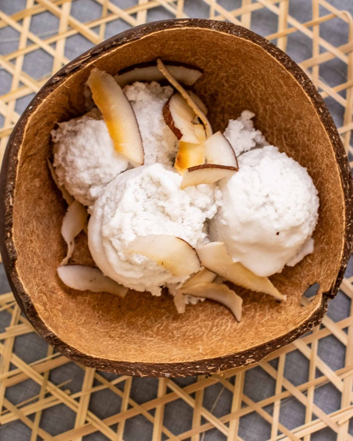 bowl of vegan coconut ice cream in coconut bowl with wooden spoon garnished with toasted coconut chips