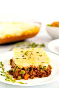 Close up picture of a slice of shepherd's pie.