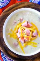 Ham chowder made in the crockpot.