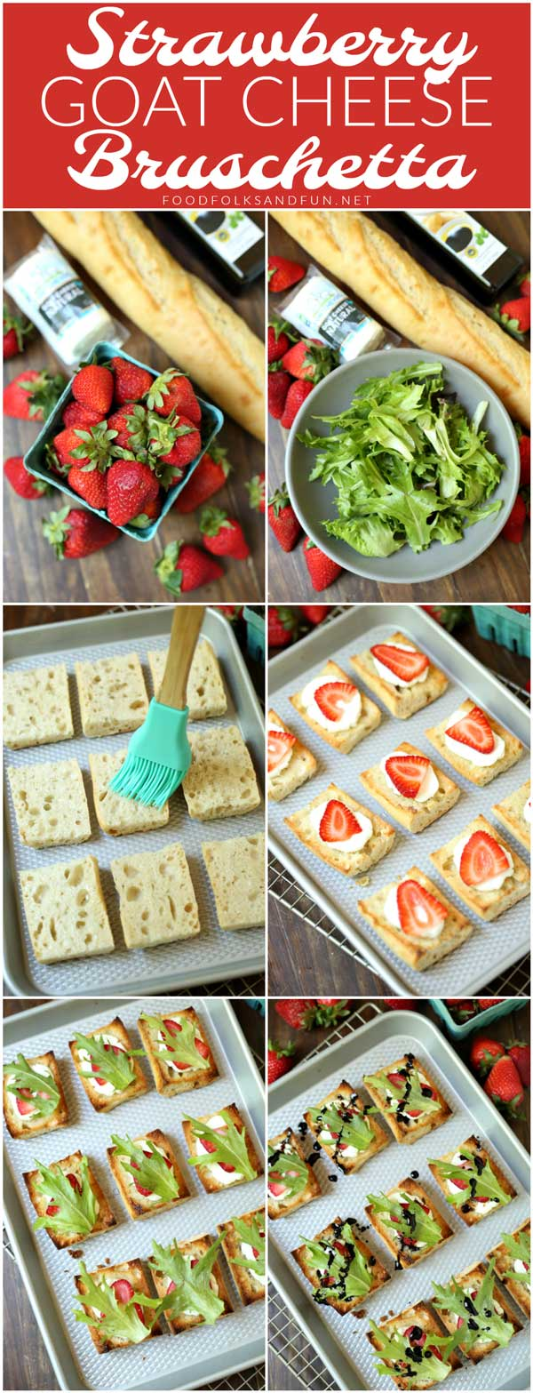 Picture collage of how to make this strawberry bruschetta.