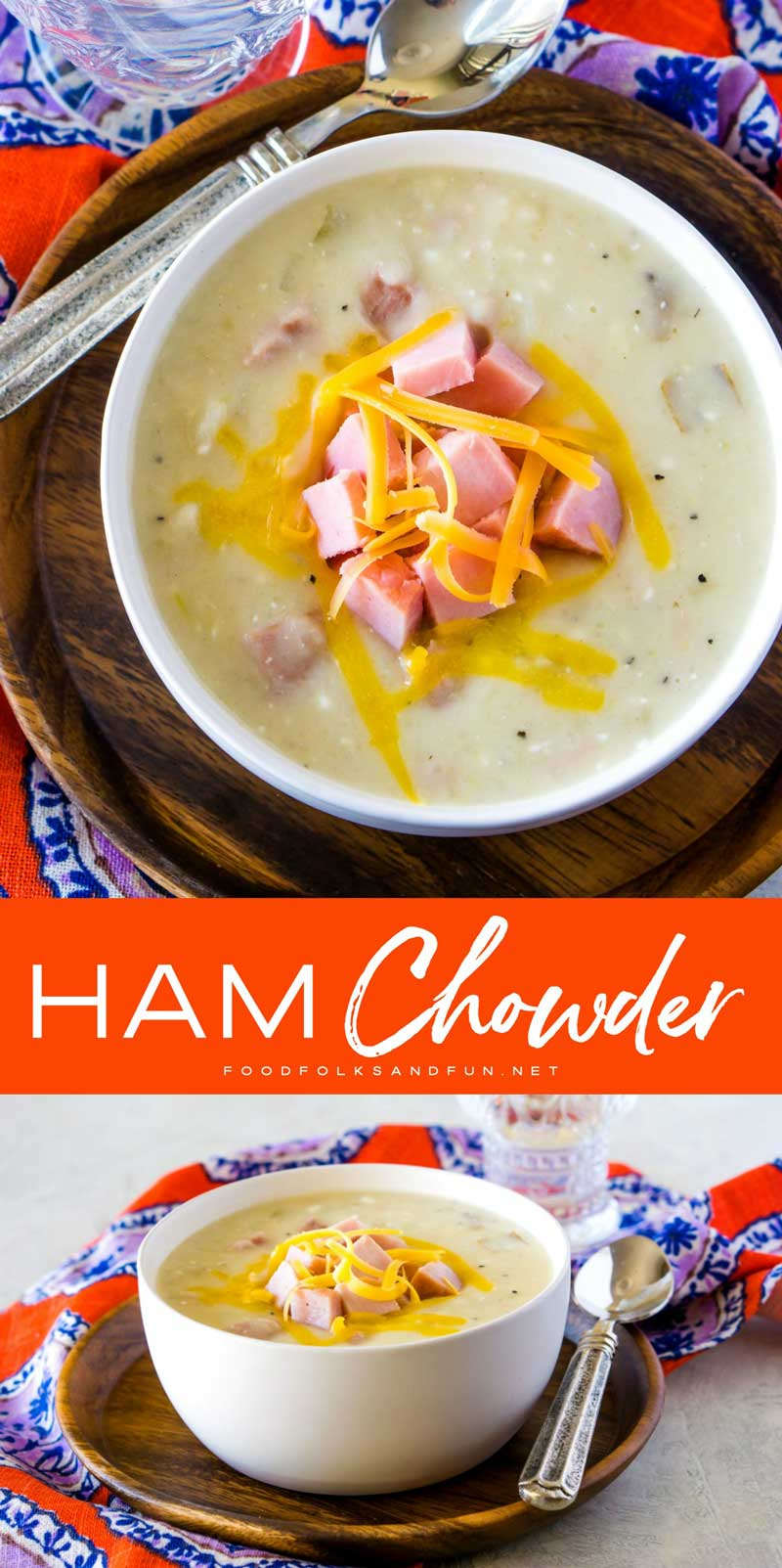 This Slow Cooker Ham Chowder is creamy, cheesy and so easy to make. It's a great way to turn leftover ham into a comforting weeknight dinner! 