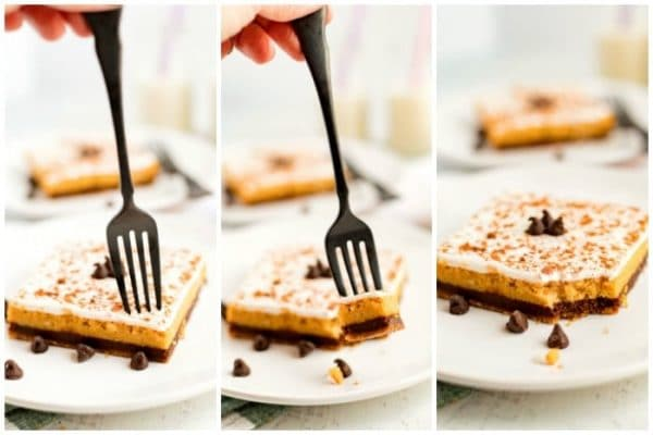 A picture collage of a fork dinning into a cheesecake bar.