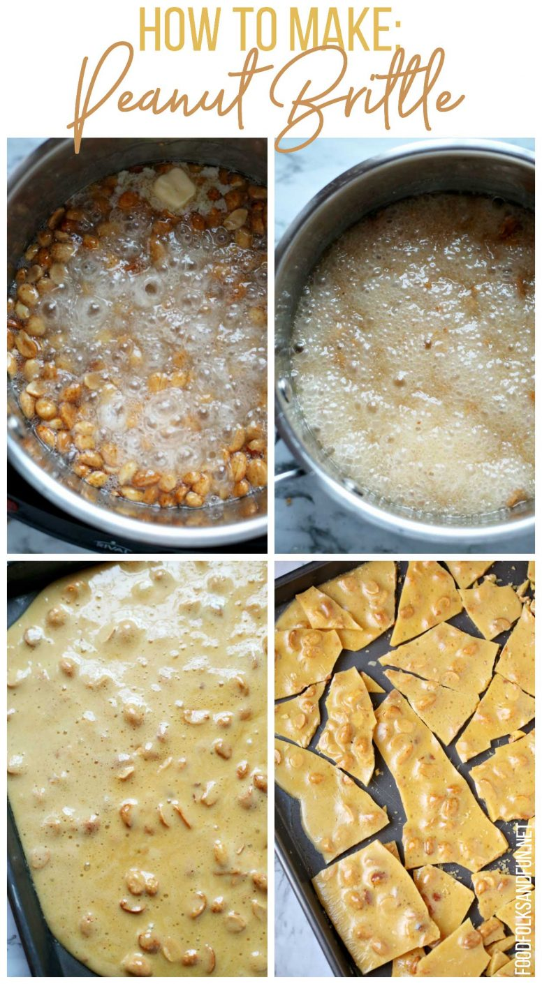 A picture collage of the steps taken to make this peanut brittle recipe.