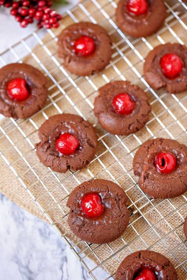 Chocolate Covered Cherry Cookies for Christmas or Valentine's Day