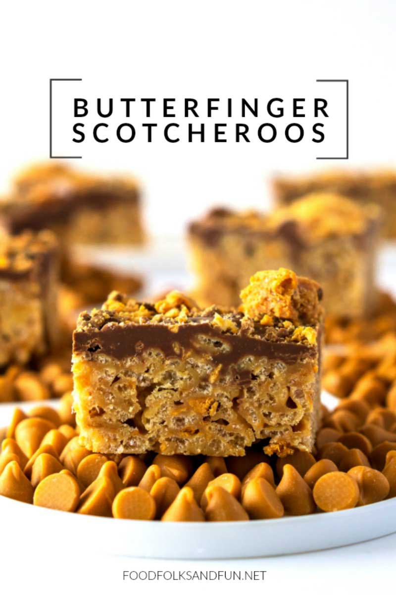 A piece of Butterfinger Scotcheroos on a plate with text overlay for Pinterest