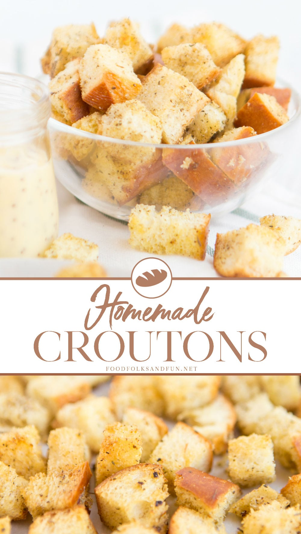 Homemade Croutons are one of those simple pleasures that I look forward to every week when I whip up a quick batch for my family. They're super simple to make and they add a little extra love to our salads. via @foodfolksandfun