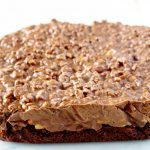 Chill the Peanut Butter Cup Crunch Brownies until set.