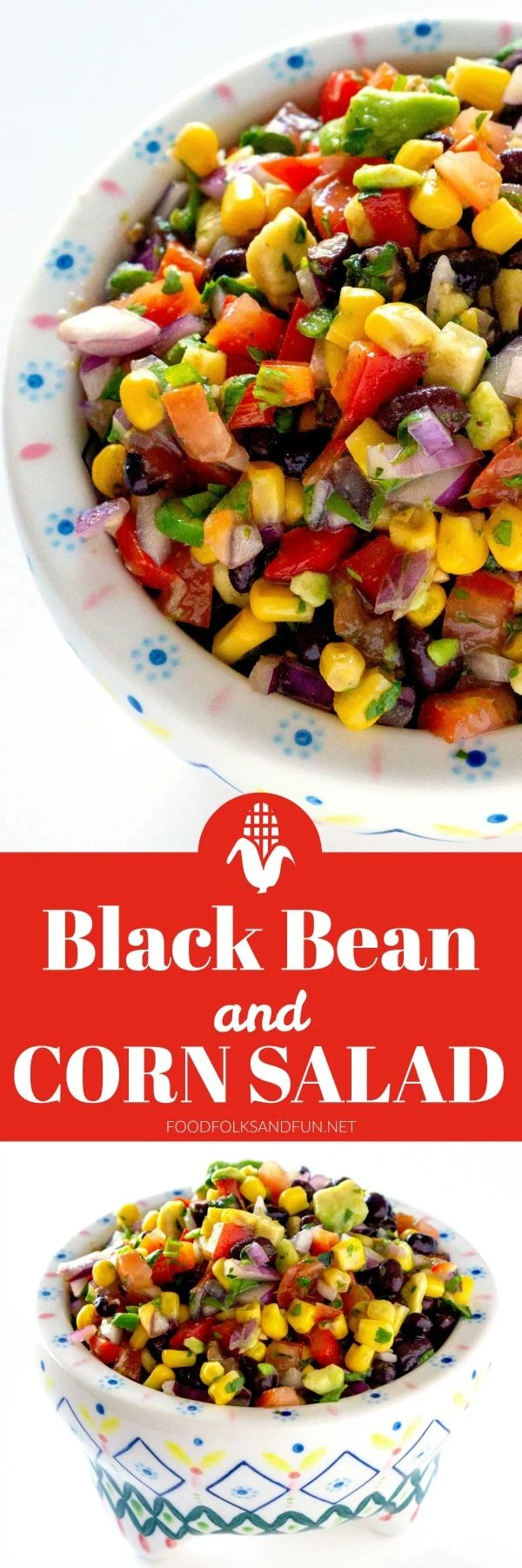 Black Bean and Corn Salad is a zesty side dish or appetizer that is packed with corn, black beans, tomatoes, red bell pepper, jalapeño, avocado, cilantro, and lime zest. #sidedish #appetizer  via @foodfolksandfun