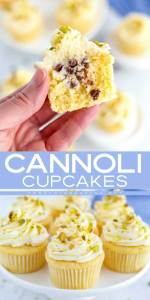 Cannoli Cupcakes; one is cut in half so you can see the cannoli filling inside.