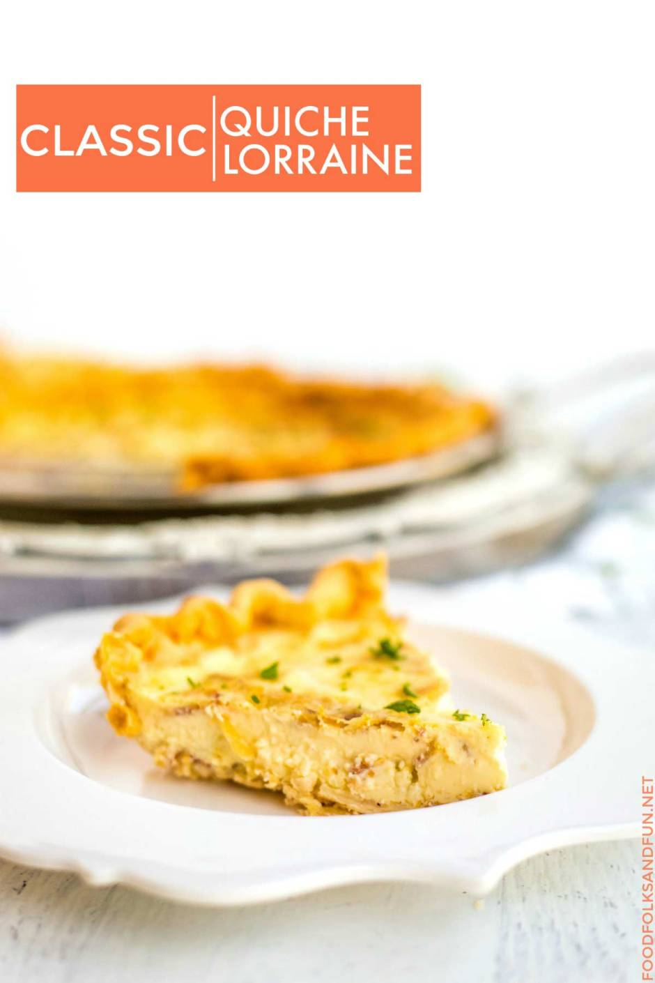 Quiche picture with text overlay for Pinterest.