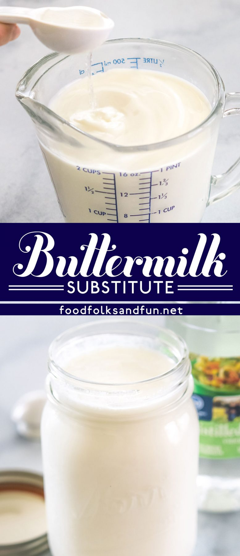 Buttermilk substitute collage with text overlay for Pinterest