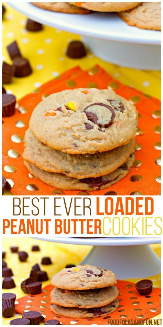 Best ever Loaded Peanut Butter Cookies in a stack with text overlay for Pinterest