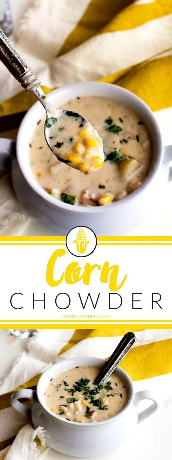 A picture collage of corn chowder.