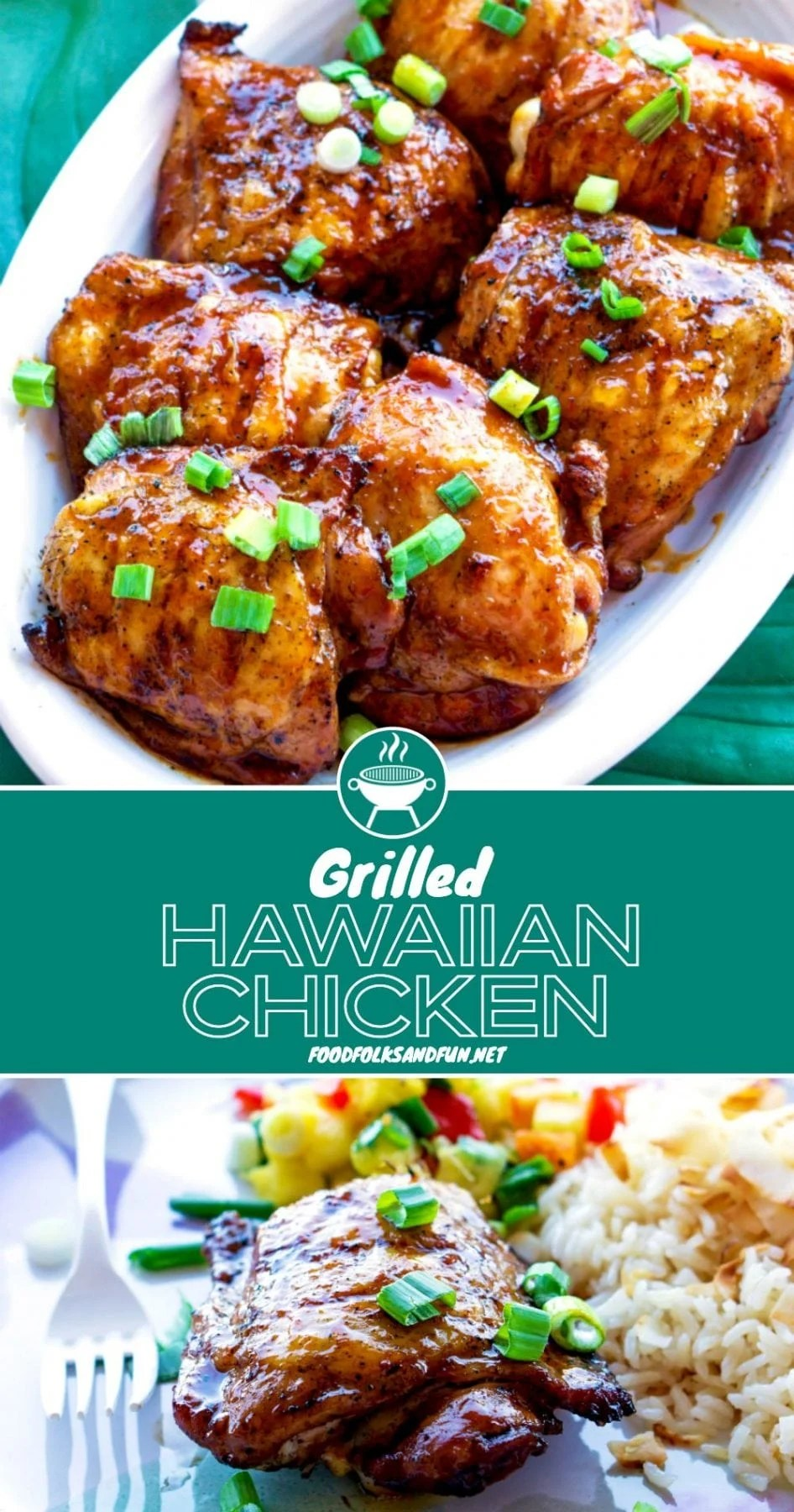 This Grilled Hawaiian Chicken is so tender and delicious and it's covered in the best sticky-sweet Pineapple Sauce! We make this chicken almost every week during the summer and it never disappoints!  via @foodfolksandfun
