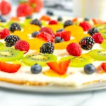 A close up picture of the finished fruit pizza.