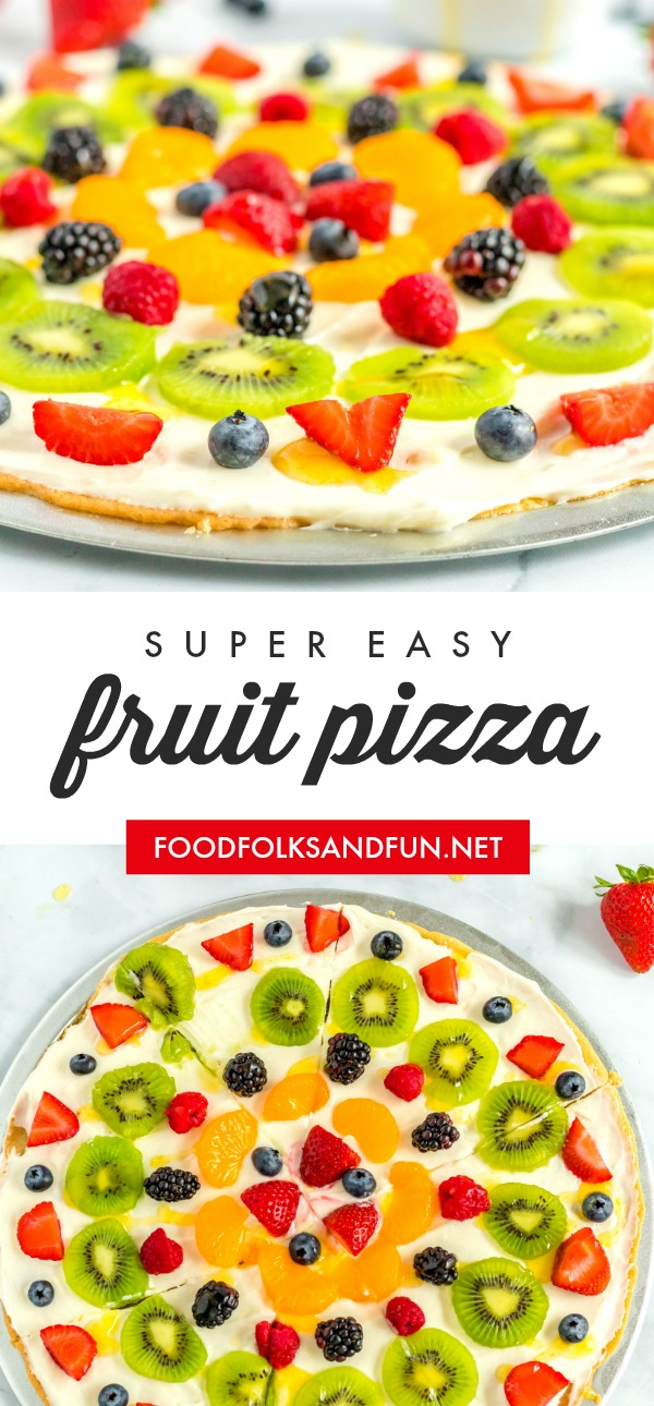 Fruit Pizza is a summertime classic that everyone loves. It has a sugar cookie crust, cream cheese and marshmallow frosting, loads of fruit, and a citrus glaze.  via @foodfolksandfun