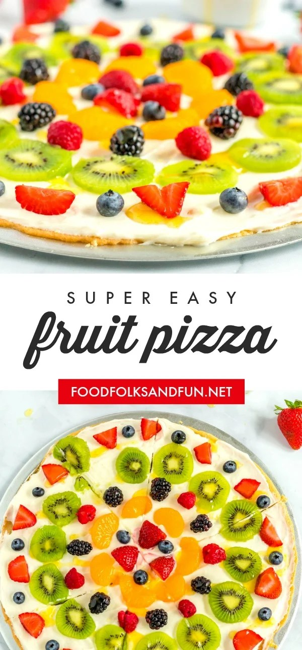 Picture collage of fruit pizza for Pinterest.