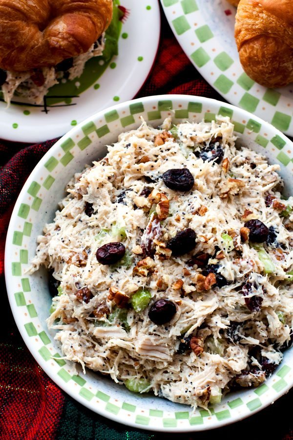 This Cranberry Chicken Salad with Pecans is all dressed up and ready for the holidays. Serve it on croissants, rolls, or as a wrap.