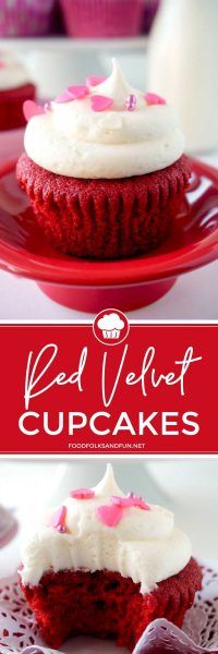Picture collage of Red Velvet Cupcake recipe for Valentine's Day for Pinterest