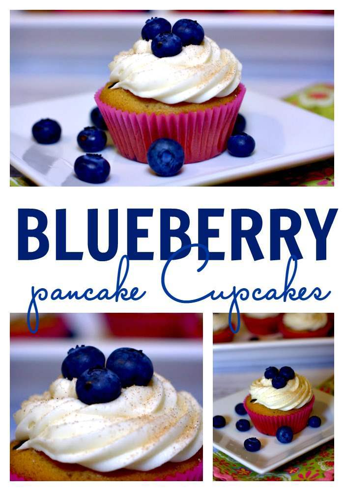 Blueberry cupcakes picture collage.