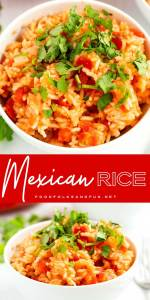 Mexican rice is bowls ready to eat.
