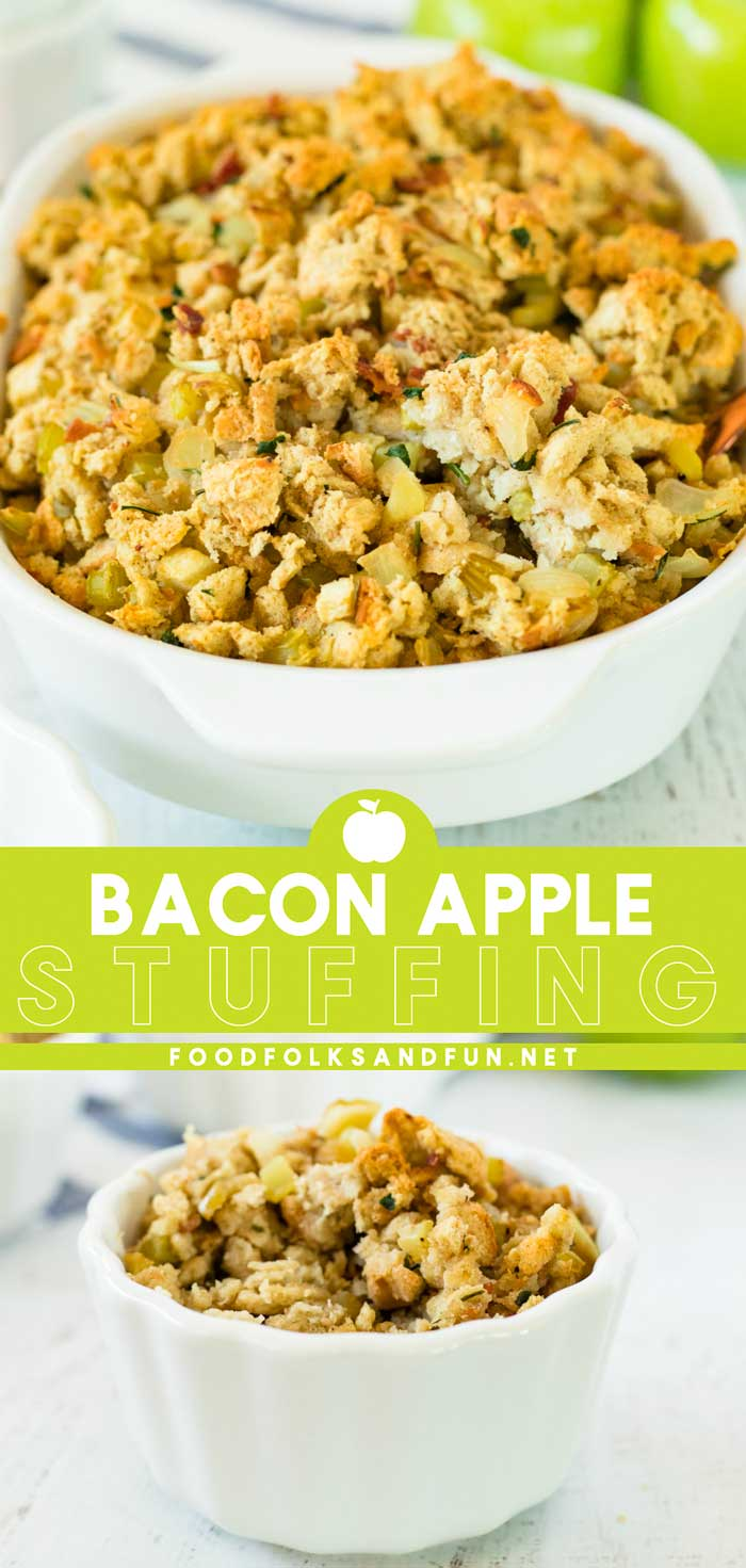 This Bacon Apple Stuffing recipe will make the flavors of your Thanksgiving turkey sing! It's delicious, so flavorful, and always a crowd-pleaser. via @foodfolksandfun