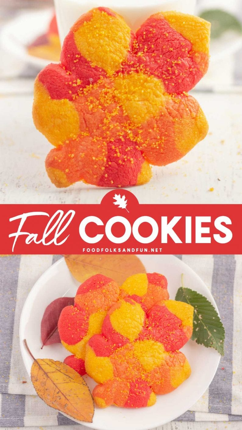 Picture collage of fall leaf cookies.