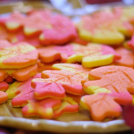 A close-up of Fall Foliage Sugar Cookies on a plate