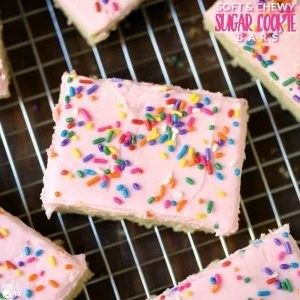 Cut sugar cookie bars with text overlay for Pinterest