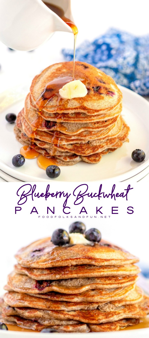 A picture collage of Blueberry Buckwheat Pancakes for Pinterest.