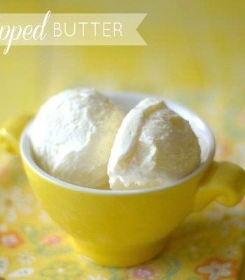 A small bowl with whipped butter and text overlay for Pinterest